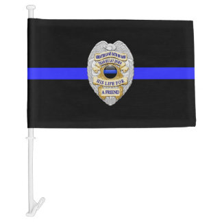 Thin Blue Line No Greater Love Badge Car Flag
