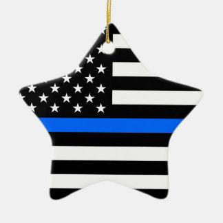 """THIN BLUE LINE ON AMERICAN FLAG"" CHRISTMAS ORNAMENT"