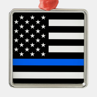 """THIN BLUE LINE ON AMERICAN FLAG"" CHRISTMAS ORNAMENT"