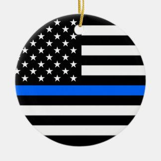 """THIN BLUE LINE ON AMERICAN FLAG"" single-sided Christmas Ornament"