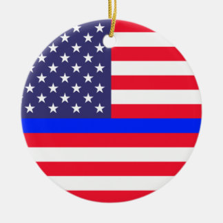 """THIN BLUE LINE ON AMERICAN FLAG"" single-sided Christmas Ornament"