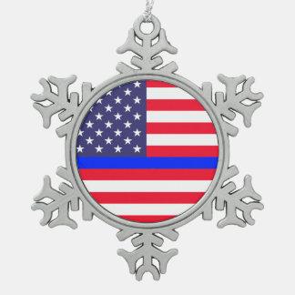 """THIN BLUE LINE ON AMERICAN FLAG"" SNOWFLAKE PEWTER CHRISTMAS ORNAMENT"