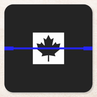 Thin Blue Line on Canadian Flag Decor Square Paper Coaster