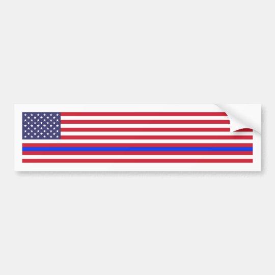 """THIN BLUE LINE on FLAG"" Bumper Sticker"