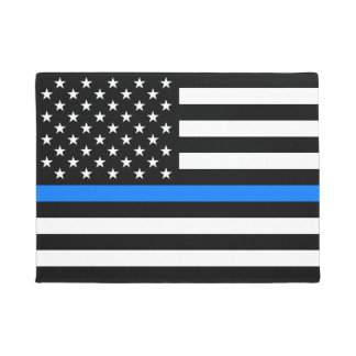 """THIN BLUE LINE on FLAG"" Doormat"