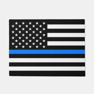 """THIN BLUE LINE on FLAG"" Doormat"