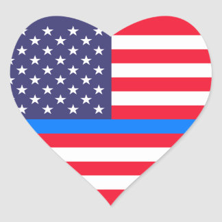 """THIN BLUE LINE on FLAG"" Heart Sticker"