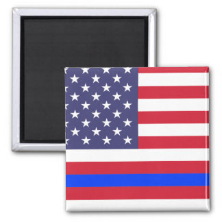 """THIN BLUE LINE on FLAG"" Square Magnet"