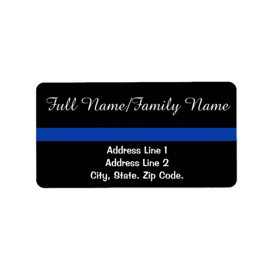 Thin Blue Line Personal White Text Address Label
