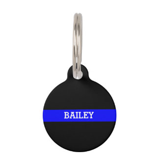 Thin Blue Line - Personalized Custom Pet Name Tag