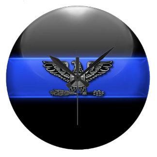Thin Blue Line - Police Chief Eagle Insignia Wall Clock