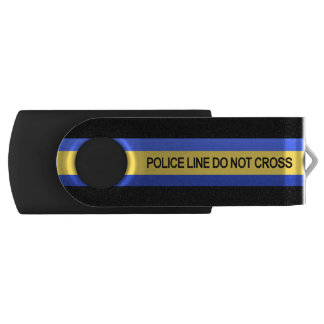 Thin Blue Line Police Line Do Not Cross Swivel USB 2.0 Flash Drive