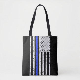 Thin Blue Line - Police Officer - Distressed Flag Tote Bag