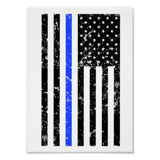 Thin Blue Line - Police Officer - Flag Poster