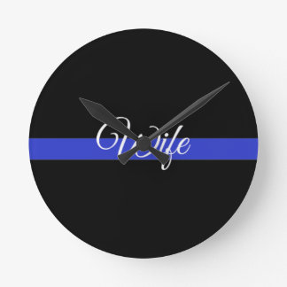 Thin Blue Line: Police Wife Round Clock