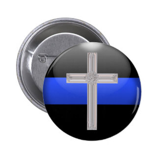 Thin Blue Line Prayer For Safety 6 Cm Round Badge