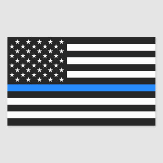 """THIN BLUE LINE"" RECTANGULAR STICKER"