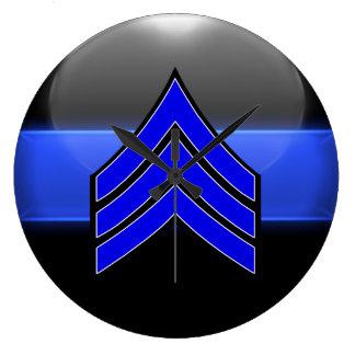 Thin Blue Line Sgt Stripes Whi Trim Rank Insignia Wall Clock
