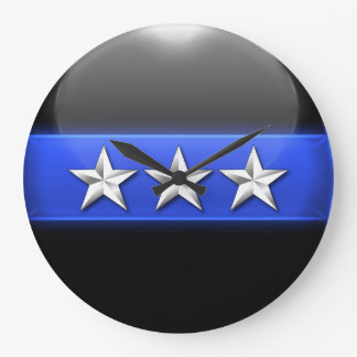 Thin Blue Line - Silver 3-Star Chief Rank Insignia Large Clock