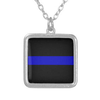 Thin Blue Line Silver Plated Necklace
