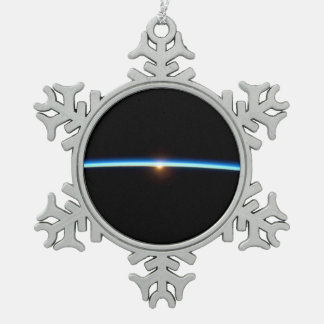 Thin Blue Line Snowflake Pewter Christmas Ornament