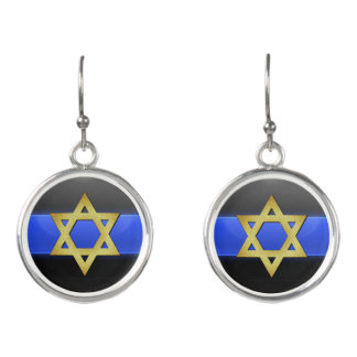 Thin Blue Line - Star of David Earrings