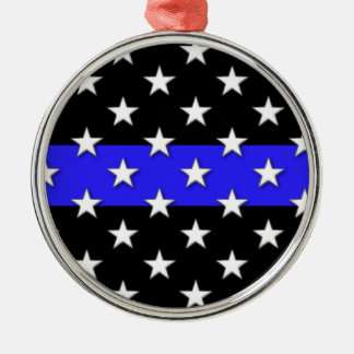 Thin Blue Line Stars and Stripes Christmas Ornament