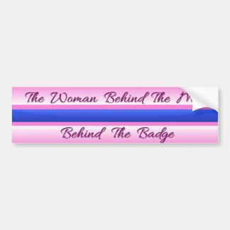 Thin Blue Line - The Woman Behind the Man Bumper Sticker