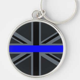 Thin Blue Line Union Jack Design Silver-Colored Round Key Ring