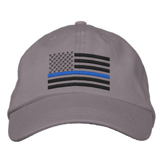 Thin Blue Line US Flag in Black Embroidered Baseball Cap