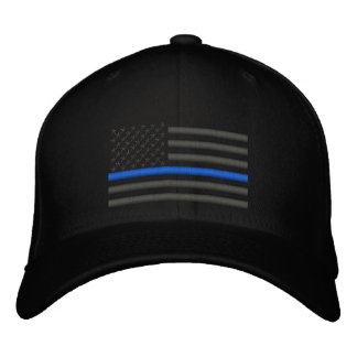 Thin Blue Line US Flag in Charcoal Embroidered Hats