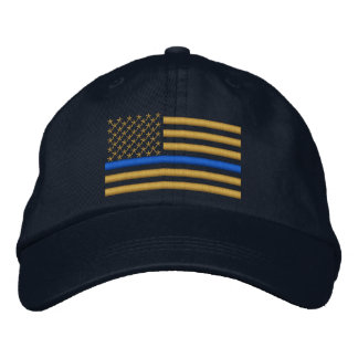 Thin Blue Line US Flag in Gold Baseball Cap