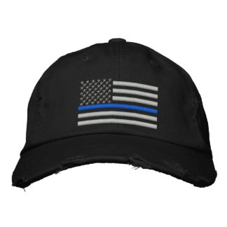 Thin Blue Line US Flag in Silver Embroidered Baseball Caps