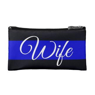Thin Blue Line Wife Cosmetics Bag Makeup Bag