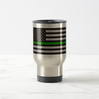 THIN GREEN LINE AMERICAN FLAG STAINLESS STEEL TRAVEL MUG
