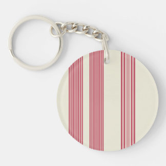 Thin Pink Vertical Stripes Off White Background Double-Sided Round Acrylic Key Ring
