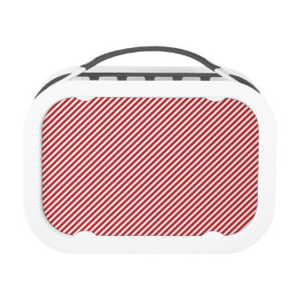 Thin Red and White Diagonal Stripes Lunch Box