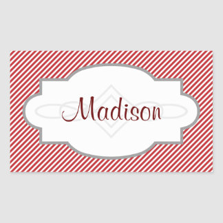 Thin Red and White Diagonal Stripes Sticker