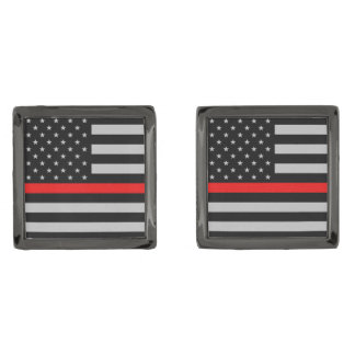 Thin Red Line Fireman Flag Cufflinks Gunmetal Finish Cufflinks