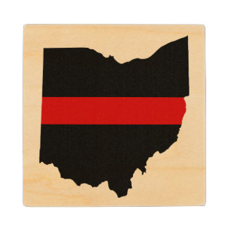 Thin Red Line Ohio wooden coaster