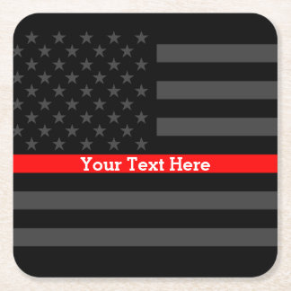 Thin Red Line Personalized Black US Flag Square Paper Coaster
