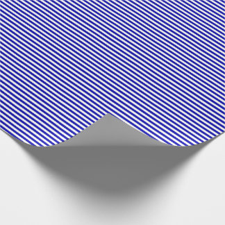 Thin Royal Blue and White Stripes Wrapping Paper