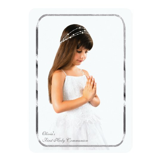 Thin Silver Frame Photo First Communion Card