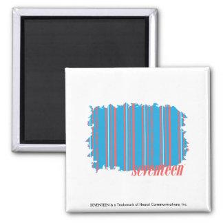 Thin Stripes Aqua 4 Square Magnet