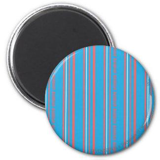 Thin Stripes Aqua 6 Cm Round Magnet