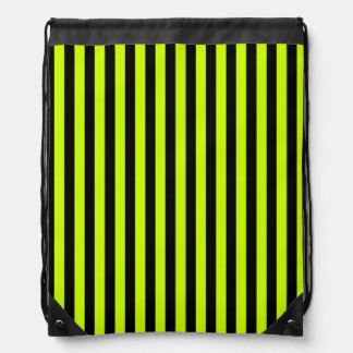 Thin Stripes - Black and Fluorescent Yellow Drawstring Backpack