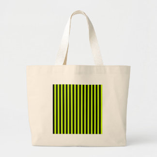 Thin Stripes - Black and Fluorescent Yellow Jumbo Tote Bag