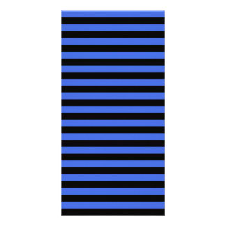 Thin Stripes - Black and Royal Blue Photo Cards