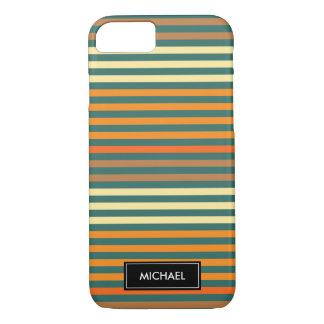 Thin Stripes Green & Orange | Custom Name iPhone 8/7 Case