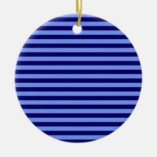 Thin Stripes - Light Blue and Dark Blue Round Ceramic Decoration